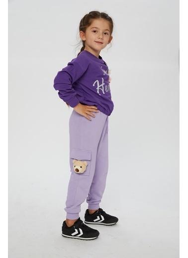 Little Star Little Star Kız Çocuk Omuz Detaylı Sweatshirt Mor